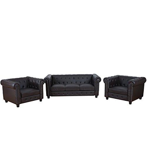 Mendler Luxus 3-1-1 Sofagarnitur Couchgarnitur Loungesofa Chesterfield Kunstleder ~ runde Füße, braun