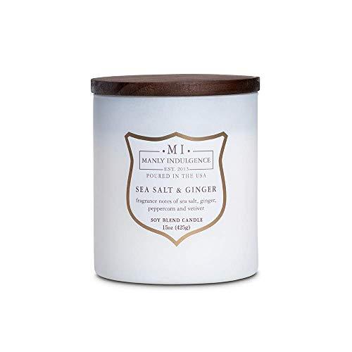 Manly Indulgence Sea Salt & Ginger Scented Jar Candle, Medium, White