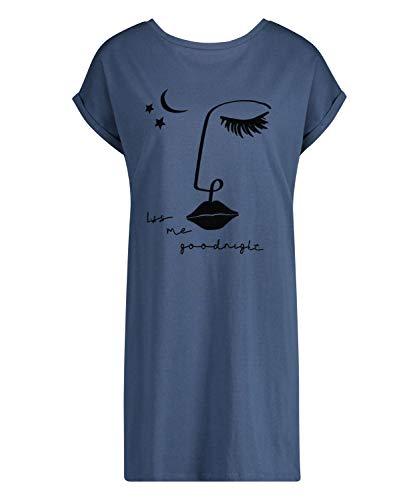 HUNKEMÖLLER Damen Kurzes Nachthemd Tomorrow mit Rundhalsausschnitt Blau XS/S