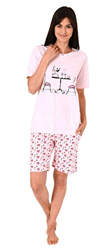 Lässiger Damen Shorty Pyjama Schlafanzug Kurzarm mit verspielten Motiv -191 205 90 206, Farbe:rosa, Größe2:48/50