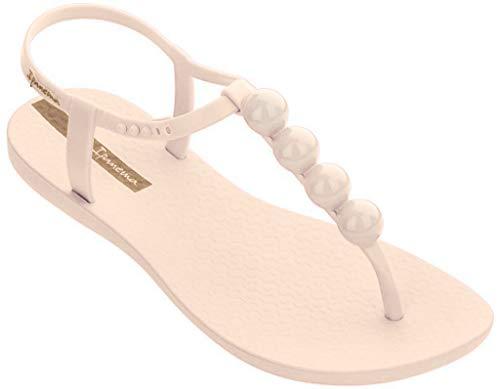 Ipanema Sandalen Damen Zehen-Sandale Gummi-Sandalen Zehentrenner Knöchelriemchen Spangen Strap Steg Flipflops-Sandale Druckknopf-Verschluss (39, Beige 24911)
