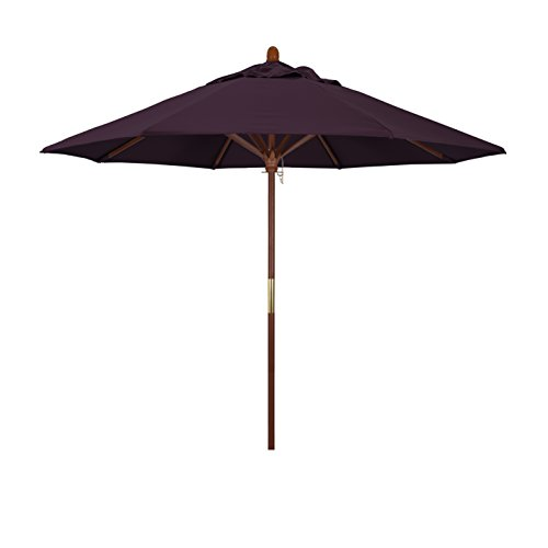 California Umbrella 9' Round Hardwood Frame Market Umbrella, Stainless Steel Hardware, Push Open, Pacifica Purple