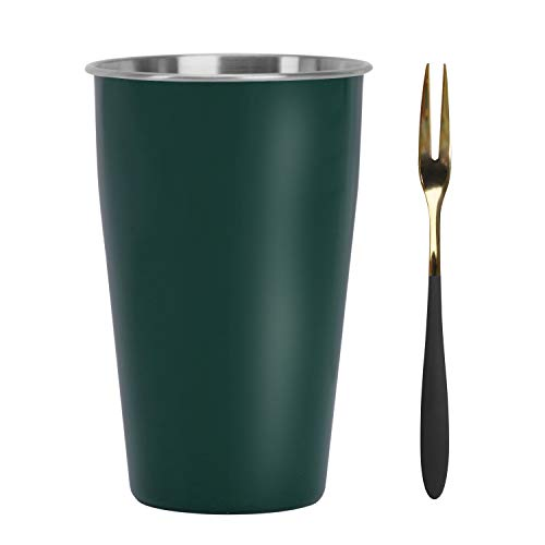 ステンレスタンブラー ジュースカップ 500ml フルーツフォーク付き 冷たい飲み物 コップ 単層厚い 洗いやすい 屋外 携帯用 家庭用 2色