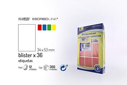 432 Etiquetas Adhesivas - Colores surtidos 34 x 53