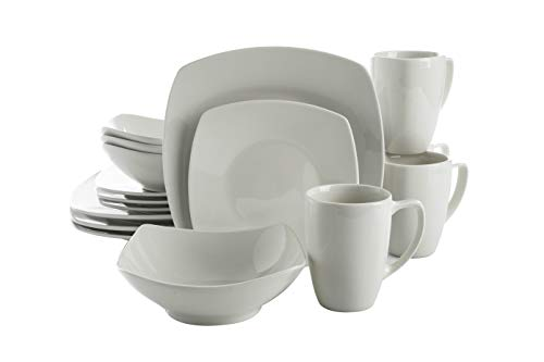 Gibson Zen Buffet Square Dinnerware Set, Service for 4 (16pcs), White