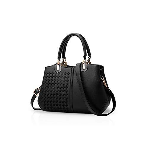 NICOLE&DORIS Frau Dame Handtaschen Schultertasche Taschen Shopper Umhängetasche PU Schwarz A