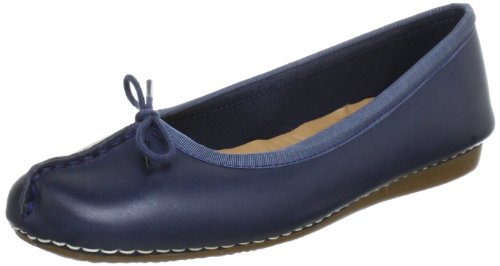 Clarks Damen Mokassin Ballerinas, Blau (Navy Leather), 41 EU