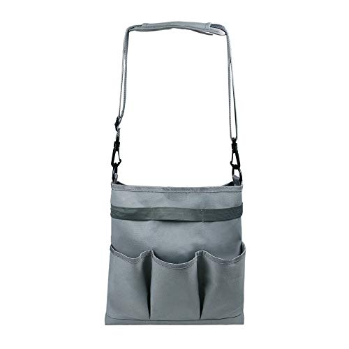 Custodia per accessori da giardino Borsa a tracolla per attrezzi da giardino, impermeabile, da giardino, con 4 tasche e cintura a spalla, organizer per interni ed esterni, attrezzi da giardino