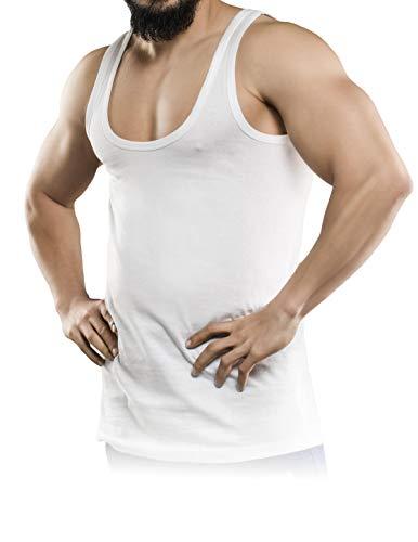 GRSN® Unterhemd Herren 5er Pack Unterhemden extra Lang – unsichtbare Herren Unterhemden durch extra weiten Kragen Ohne kratzende Zettel – Unterhemd Herren Weiss 100% reine auserlesene Baumwolle (XXL)