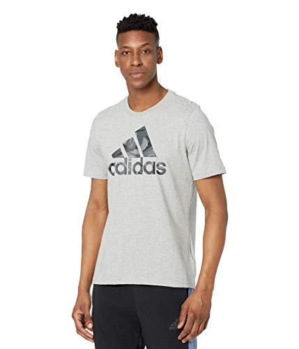 adidas Men's Standard Essentials Camouflage Print Tee, Medium Grey Heather/Grey, Small