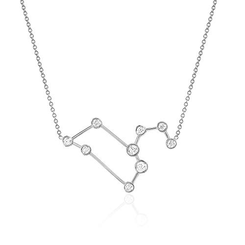 Sterling Silver Zodiac Necklace Constellation Jewelry Birthday Gift Sorority Sister Gift [Leo - Jul 23 - Aug 22]