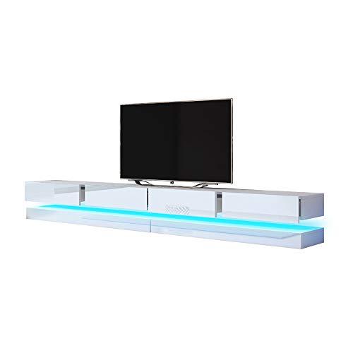 Aviator Double - TV Lowboard/TV Schrank/Hängeboard (280 cm Weiß mit Hochglanzfronten, mit LEDs)