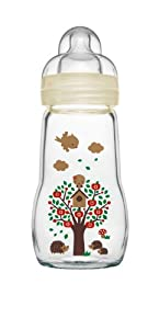 MAM Feel Good - Biberón (cristal, 260 ml), color blanco