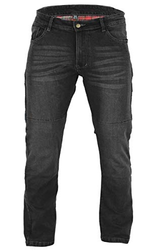 BUSA Black Tab Stretch Kevlar Motorcycle Jeans Aramid protection Removable Knee & Hip Armour 40W 32L