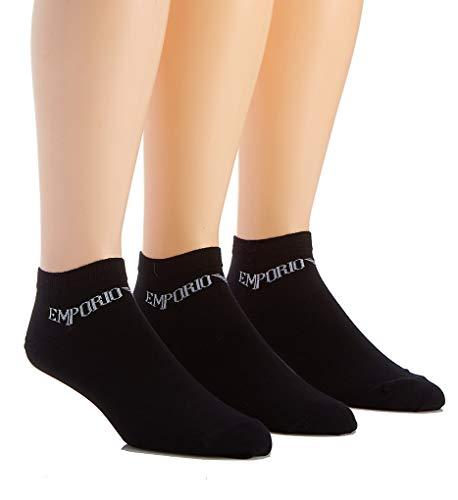 Emporio Armani Calcetines deportivos para Hombre, Paquete de 3 - Logo Negro 42-44