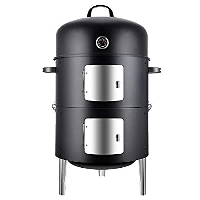Realcook Charcoal BBQ Smoker Grill: Heavy Duty Bullet Vertical Smoker for Outdoor Cooking Grilling