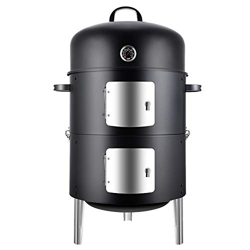 Realcook Vertical 17 Inch Steel Charcoal Smoker, Heavy Duty Round BBQ Grill for Outdoor Cooking, Black