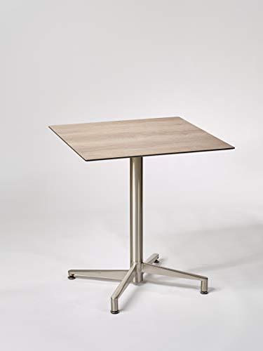 Destiny Tisch Loft Gartentisch 80 x 80 Edelstahl HPL Platte Raucheiche Gastrotisch Esstisch