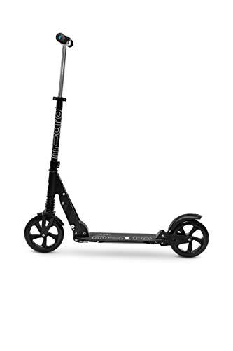 Micro Mobility - Trottinette Suspension Noire - Grandes Roues - Mobilité Quotidienne et citadine Adulte - Pliable avec Double Suspension - Béquille intégrée - 100% Aluminium