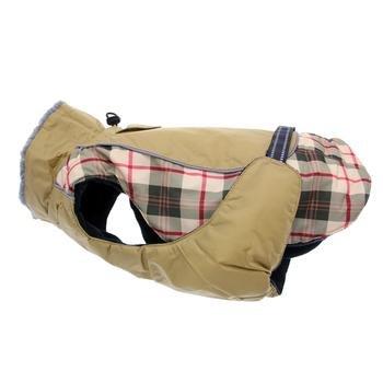 Doggie Design Alpine All Weather Dog Sport Parka Coat - Beige Plaid Size L