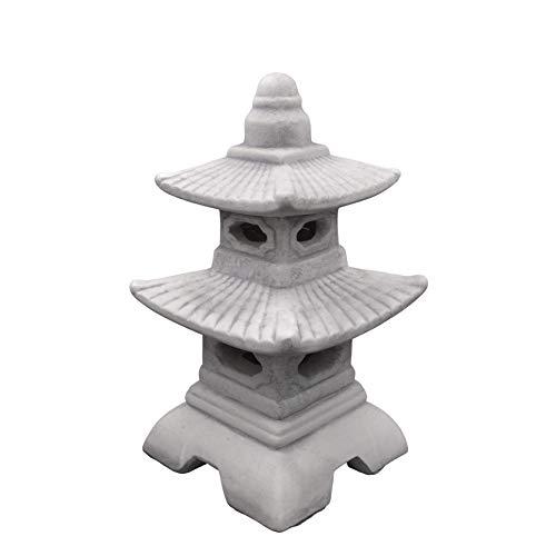Gartendekoparadies.de massieve Japanse stenen lantaarn Pagode met venster voor LED-kaars gemaakt van gegoten steen, vorstbestendig (grijs)