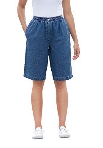 Woman Within Women's Plus Size Elastic-Waist Cotton Short - 18 W, Medium Stonewash Blue