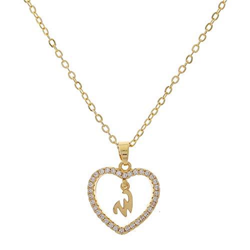 Collar con colgante de letra en forma de corazón para mujer, de la A a la Z, letra mayúscula, con colgante de corazón, accesorio de joyería - W
