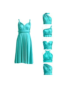 72STYLES Bridesmaid Infinity Dress Wedding Prom Party Cocktail Convertible Short Wrap Dress with Bandeau Turquoise