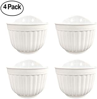 4 Pack Resin Wall Hanging Planter Pots Vertical Garden Living Wall Mount Window Hang Box Container Indoor Outdoor for Plants Flowers Kitchen Herbs Holder with Drainage Water Reservoir Decor White