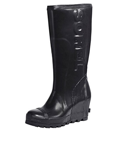 SOREL Women's Joan Rain Wedge Tall Gloss Boot, Black, sea Salt, 10.5 M US