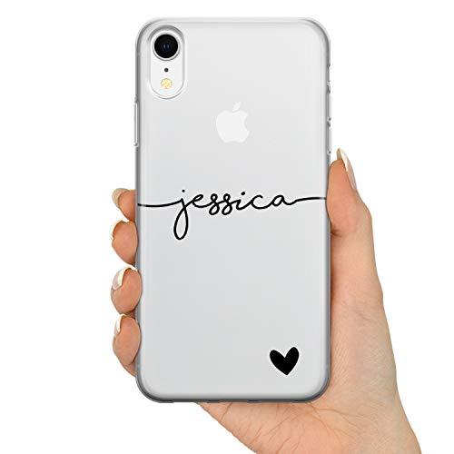 TULLUN Personalisierte Handyhülle für iPhone 11 - Klare Soft Gel Benutzerdefinierte Farbe Name & Herz Unten Name Buchstabe Initialen Name Text - Schwarzer Name & Herz