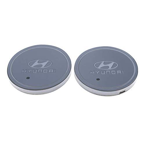 2pcs LED Auto Cup Halter Matte Pad Wasserdicht Flasche Getränke Untersetzer für Universal Auto zur Autodekoration Stimmungslicht Innenraumbeleuchtung wasserdicht (Hyundai)