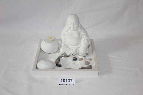 Zen Garten met Happy Boeddha figuur en kaars, 5-delige set, 21 x 21 x 9 cm, wit
