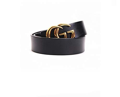 Lussuoso design - stile donna moda casual cintura in pelle classica (pelle perfetta) [3,2 cm larghezza] Nero 110 cm