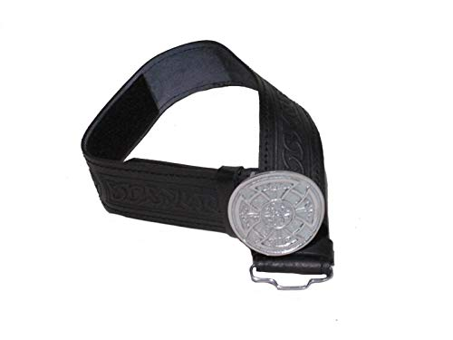 AAR Leather Celtic Design Kilt Belt Black & Brown With Chrome Finish Buckle Scottish Highland