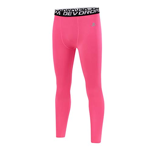 Devoropa Boys Leggings Quick Dry Youth Compression Pants Sports Tights Basketball Base Layer Pink S