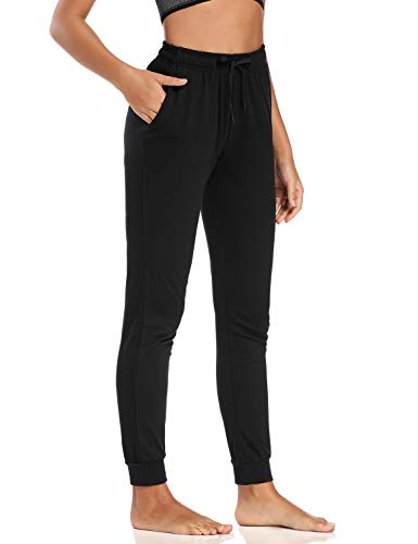 """Safort 34"""" Inseam Regular Tall 100% Cotton Casual Workout Sweatpants with 3 Pockets, Yoga Joggers Pants, Tapered Lounge Cuff Cropped Pants, Black S"""