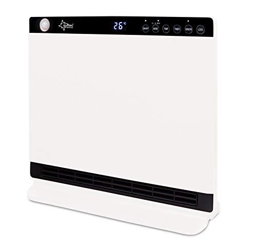 Suntec Wellness 13140 SUNTEC PTC-Heizlüfter Heat Screen Pearl [Für Räume bis 45 m³ (~19 m²), 2 Heizstufen + Temperaturwahl 18-30 °C, 2 Bewegungssensoren, Timer, Fernbedienung, max. 1800 W], Weiß