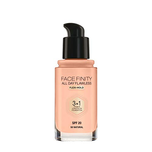 Max Factor Face Finity All Day Flawless 3 in 1 Foundation 50 Natural, 1er Pack (1 x 30 ml)