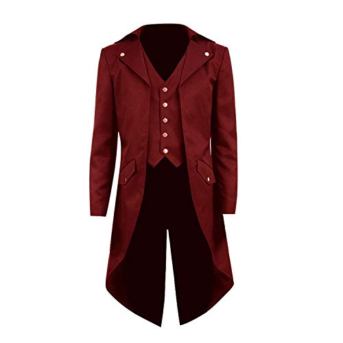 COSSKY Boys Gothic Tailcoat Jacket Steampunk Long Coat Halloween Costume (Deep Red(B), 8)