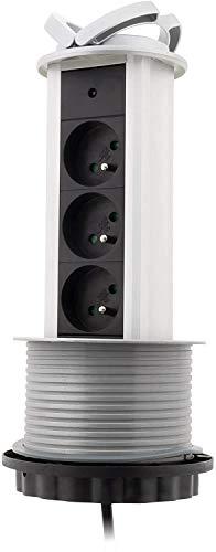 Inotech - Bloques de cocina - bloque 3 16a retráctil cable ho5vvf tomada 3g1-1,60 m negro