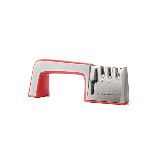 XINGYU Schleifgeräte, Multifunktionsschärfer mit Vier Messern, arbeitssparende Sicherheit, Aktualisierung gebrauchter Werkzeuge (schwarz/rot) (Farbe: rot)