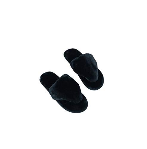 Zapatillas de piel para mujer - Zapatillas acogedoras - Chanclas de piel para mujer al aire libre, color Negro, talla 41 EU