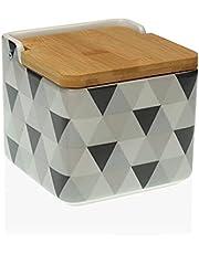 TIENDA EURASIA® Salero de Cocina de Cerámica con Tapa de Bambú Diseños Originales - 12,2 x 12,2 x 11,5 cm (Soft Triangle, Salero - 12,2 x 12,2 x 11,5 cm)