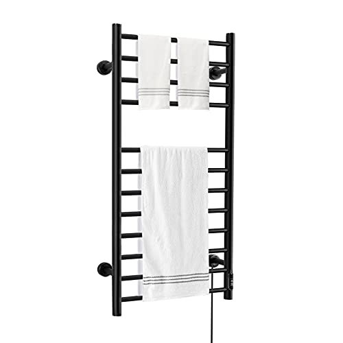 KEY TEK Wall Mounted Electric Towel Warmer with Built-in Timer, Plug-in/Hardwired, Matte Black