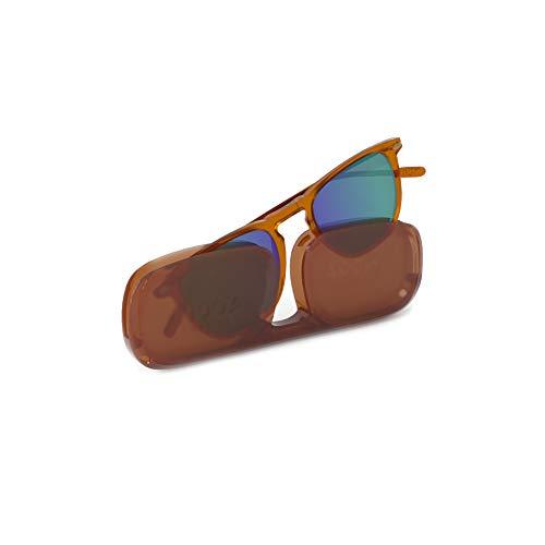 NOOZ Occhiali da sole polarizzati per uomo e donna - Protezione di categoria 3 - Marrone - con custodia compatta - Collezione DINO
