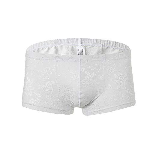 Aiserkly Slip Tanga Komfortable G-String für Männer Unterwäsche Sexy Höschen Thongs Herren Sexy Erotische Unterwäsche Lace Hüft-Shorts Weiß L