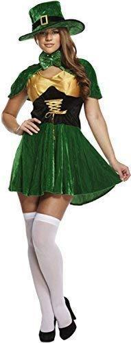 Damen Feurig st Patricks Tag Kobold Hut Kleid mit Cape Irland Irisch Nationalkostüm Feier Party Kostüm Kleid Outfit