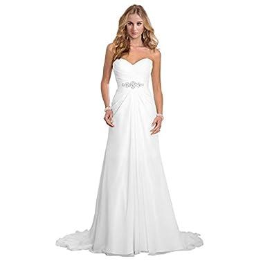 Dreambridal Simple A Line Chiffon Bride Wedding Dresses White US 20W