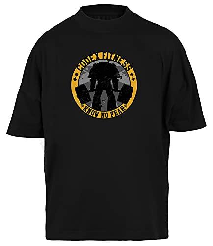 Know No Fear Fitness Camiseta Holgada Unisex Hombres Mujeres Mangas Cortas Negra T-Shirt Baggy Men Women Black tee XL